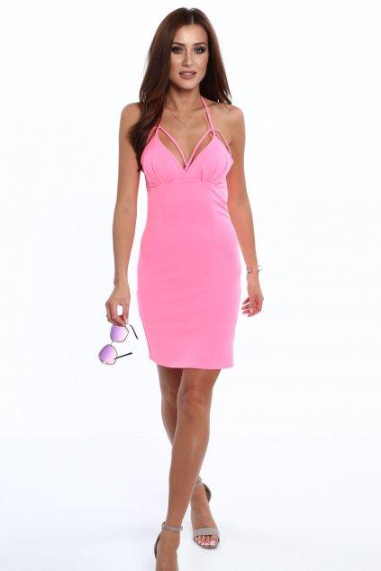 Růžové šaty Fasardi na ramínka