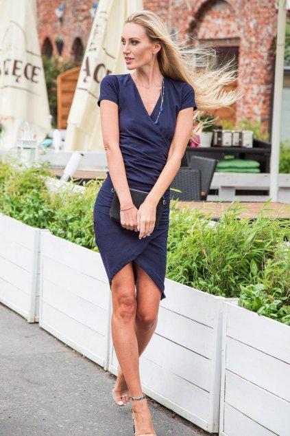 Tmavě modré šaty Fasardi s krátkým rukávem