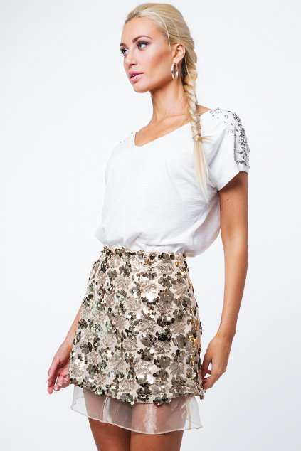 Zlatá sukně Fasardi s flitry