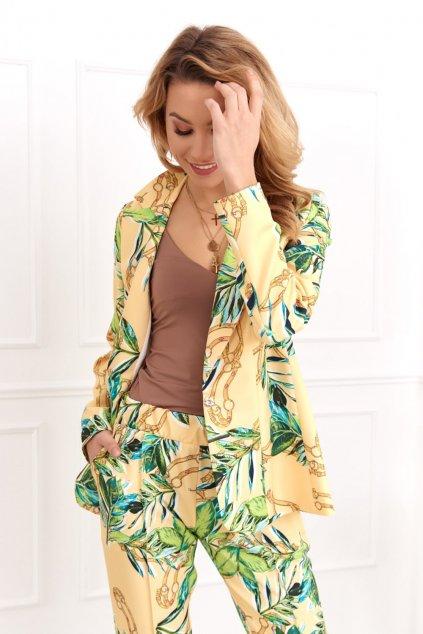 Žluté dámské elegantní sako Fasardi se vzorem