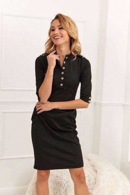 Černé šaty Fasardi s knoflíčky