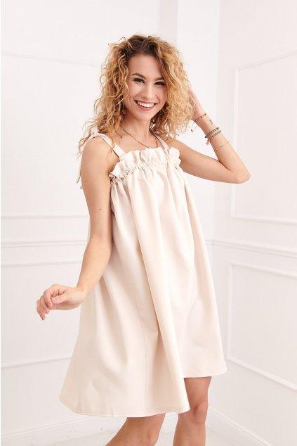 Elegantní béžové šaty Fasardi s řasením