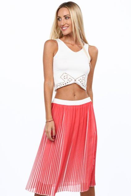 Plisovaná korálová sukně Fasardi
