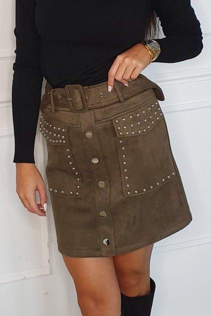 Khaki semišová sukně Fasardi
