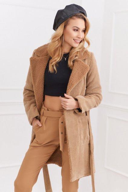 Béžový zimní kabát Fasardi s kožíškem