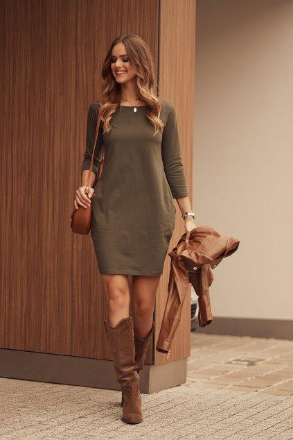 Khaki šaty Fasardi s dlouhým rukávem