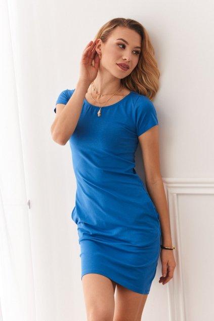 Modré šaty Fasardi s krátkým rukávem