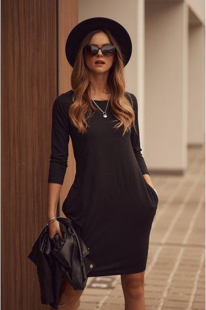 Černé šaty Fasardi s dlouhým rukávem
