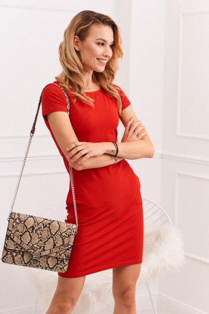 Červené šaty Fasardi s krátkým rukávem