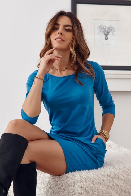 Indigo šaty Fasardi s dlouhým rukávem