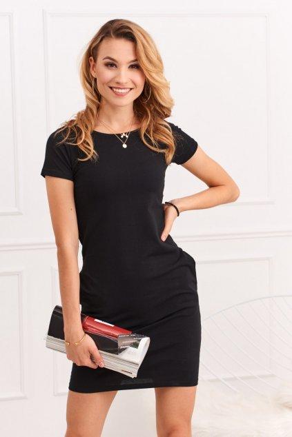 Černé šaty Fasardi s krátkým rukávem