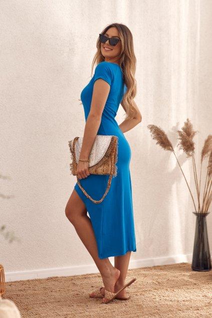 Chabrové volné šaty Fasardi