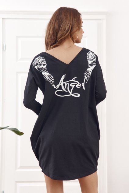 Černé šaty Fasardi s potiskem na zádech