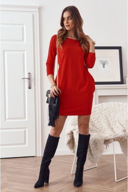 Červené šaty Fasardi s dlouhým rukávem