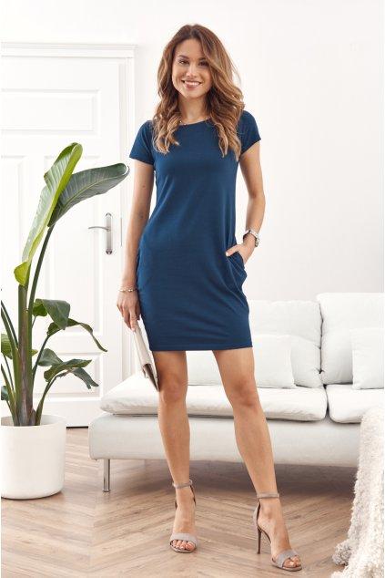 Námořnicky modré šaty Fasardi s krátkým rukávem