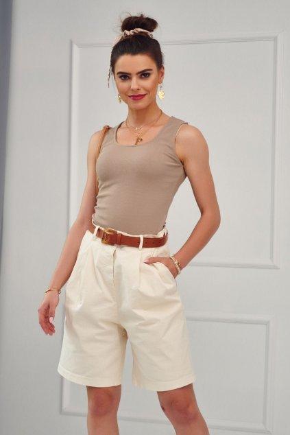 Bavlněné béžové dámské šortky s hnědým páskem