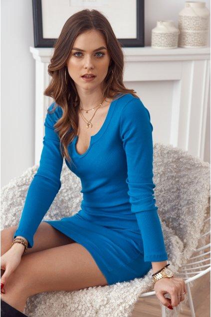 Kobaltové mini šaty Fasardi s dlouhými rukávy