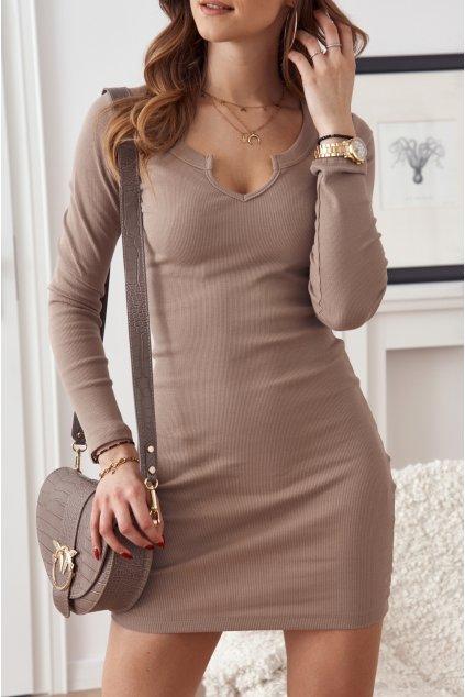 Béžové mini šaty Fasardi s dlouhými rukávy