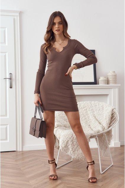 Cappuccinové mini šaty Fasardi s dlouhými rukávy
