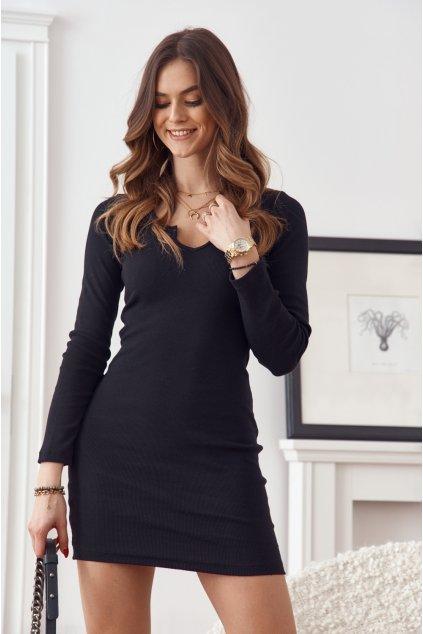 Černé mini šaty Fasardi s dlouhými rukávy