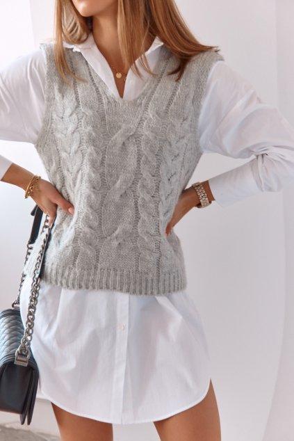 Pletená vesta světle šedá Fasardi