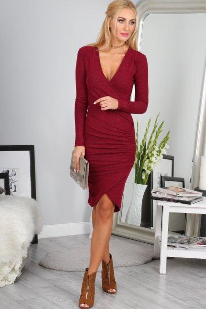 Elegantní dámské vínové šaty Fasardi