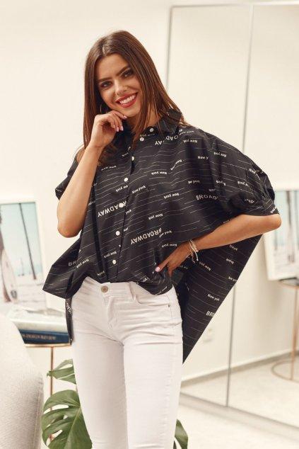 Asymetrická oversize košile Fasardi černá