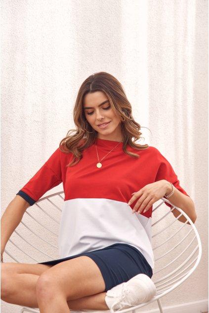 Volné šaty modro-bílo-červené Fasardi