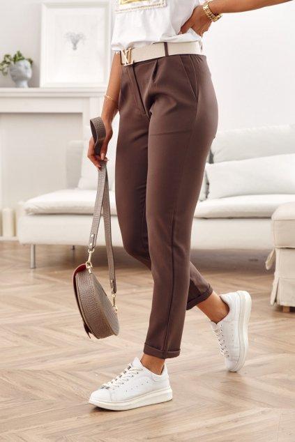 Elegantní dámské kalhoty Fasardi s knoflíčkem čokoládově hnědé