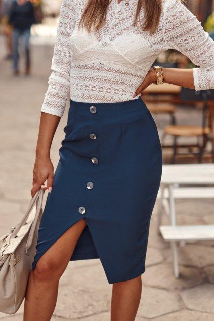 Tubová sukně s knoflíky námořnicky modrá Fasardi