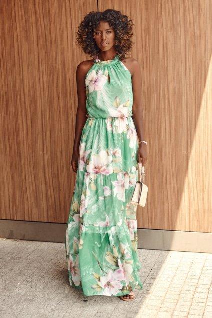 Maxi květinové šaty zelené Fasardi
