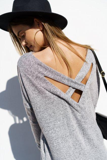 Oversize šaty s výstřihem na zádech světle šedé Fasardi
