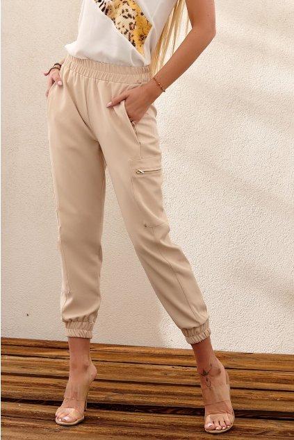 Béžové kalhoty Fasardi s elastickým pásem