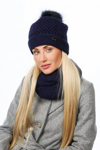 Zimní dámská pletená sada Fasardi tmavě modrá