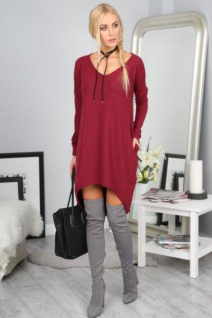 Volné vínové šaty Fasardi