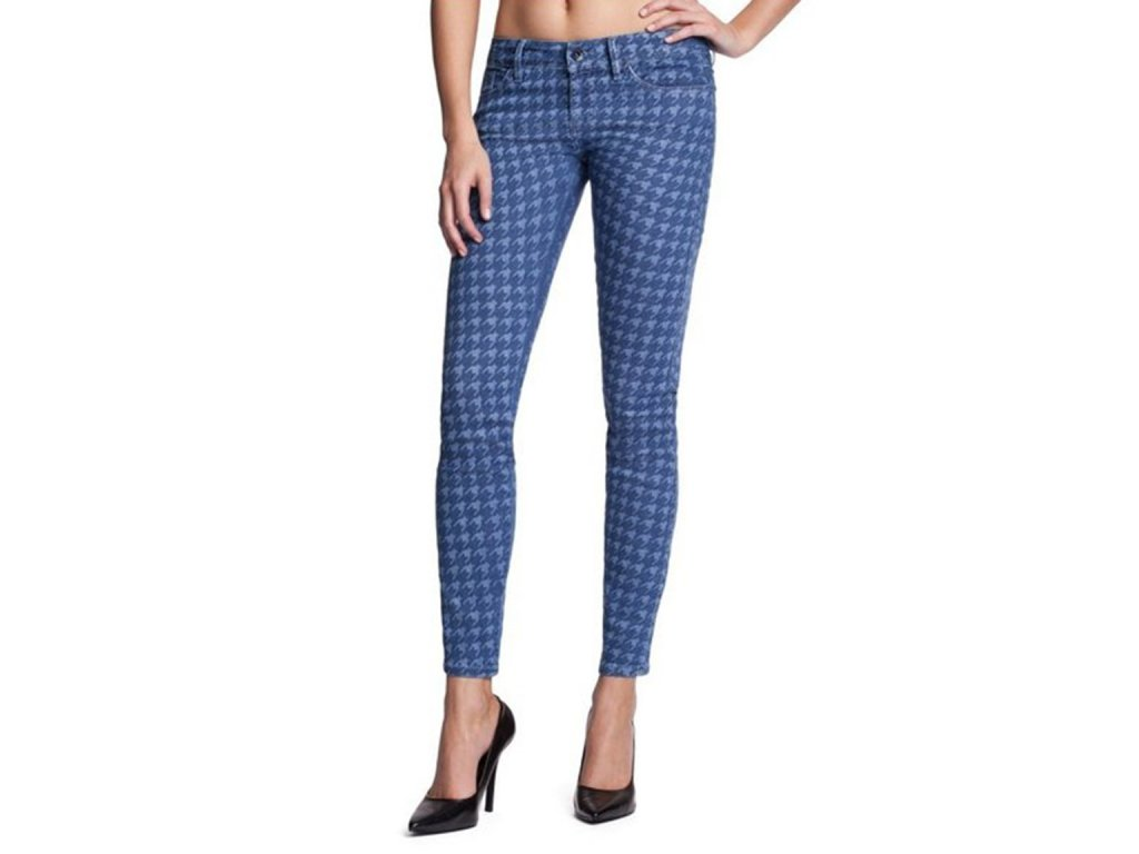 GU280 GUESS jeans Brittney Skinny Ankle with Houndstooth print