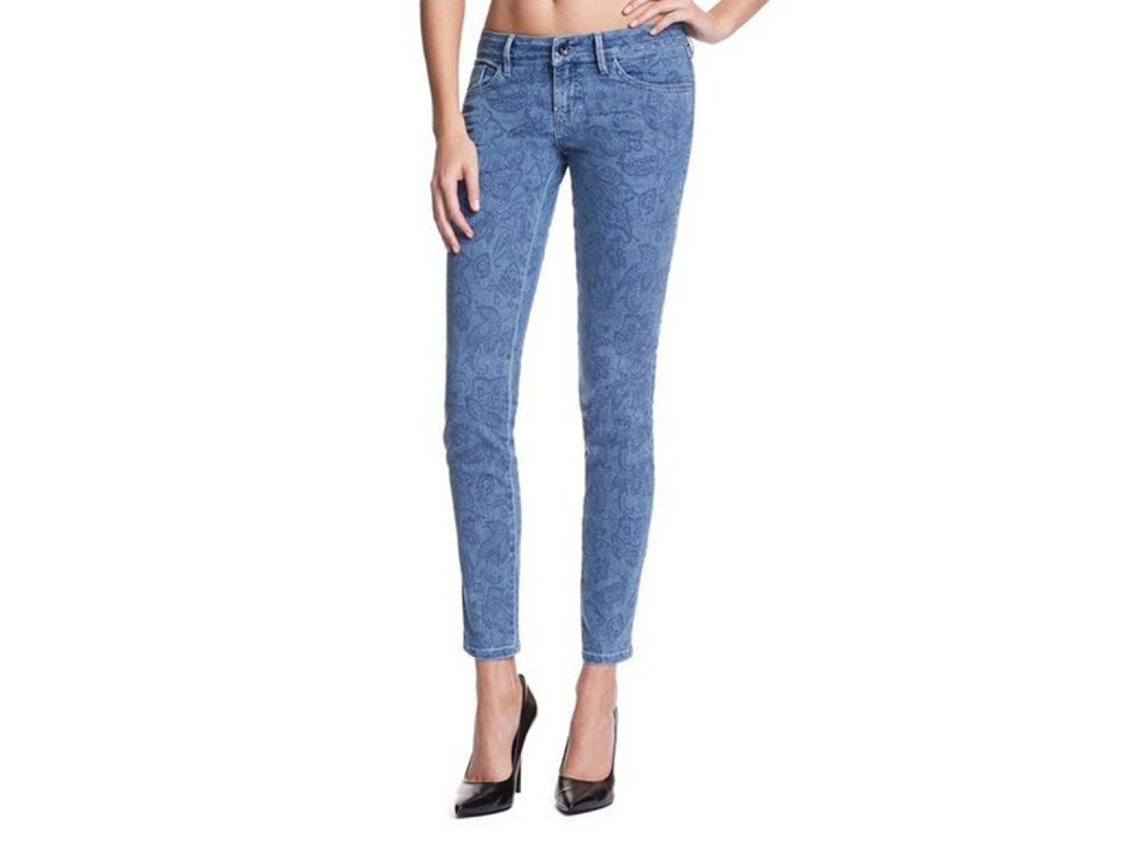 GU287 GUESS jeans Brittney Ankle Skinny with Paisley Prin