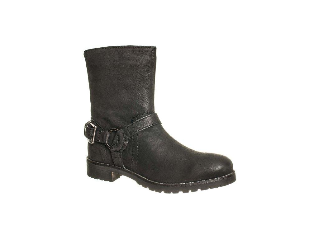 Kickers Dámské kotníkové boty černé kožené