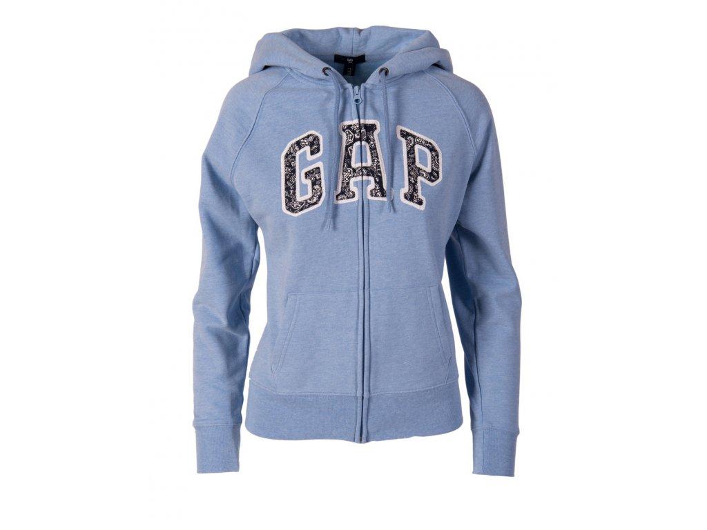 Gap dámská mikina na zip s kapucí bílá bledě modrá