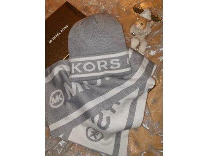 Michael Kors dámská čepice a šála šedivá
