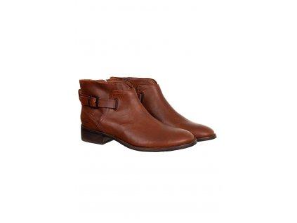 UGG23 dámské kožené kotníkové boty hnědé (2)