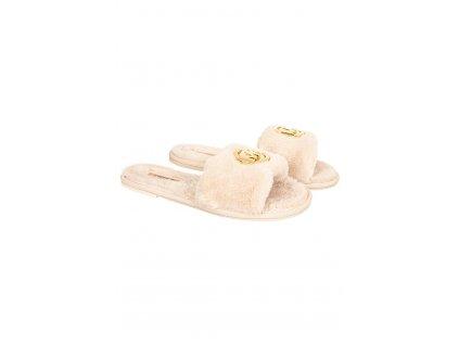 MK161 Michael Kors dámské pantofle Alexis béžové (1)