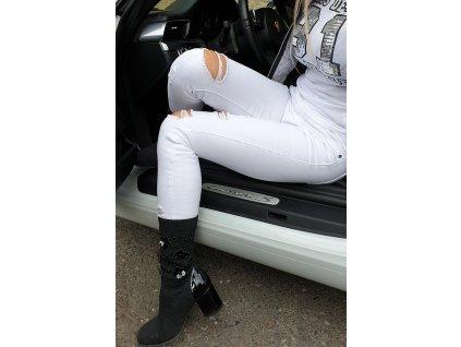 KanCan SHARON- ATHENA - Bílé Skinny Jeans džíny KC10