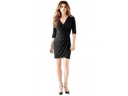 Guess šaty Three-Quarter Sleeve Metallic Wrap