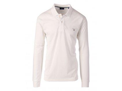 Gant pánské polo tričko dlouhý rukáv bílé