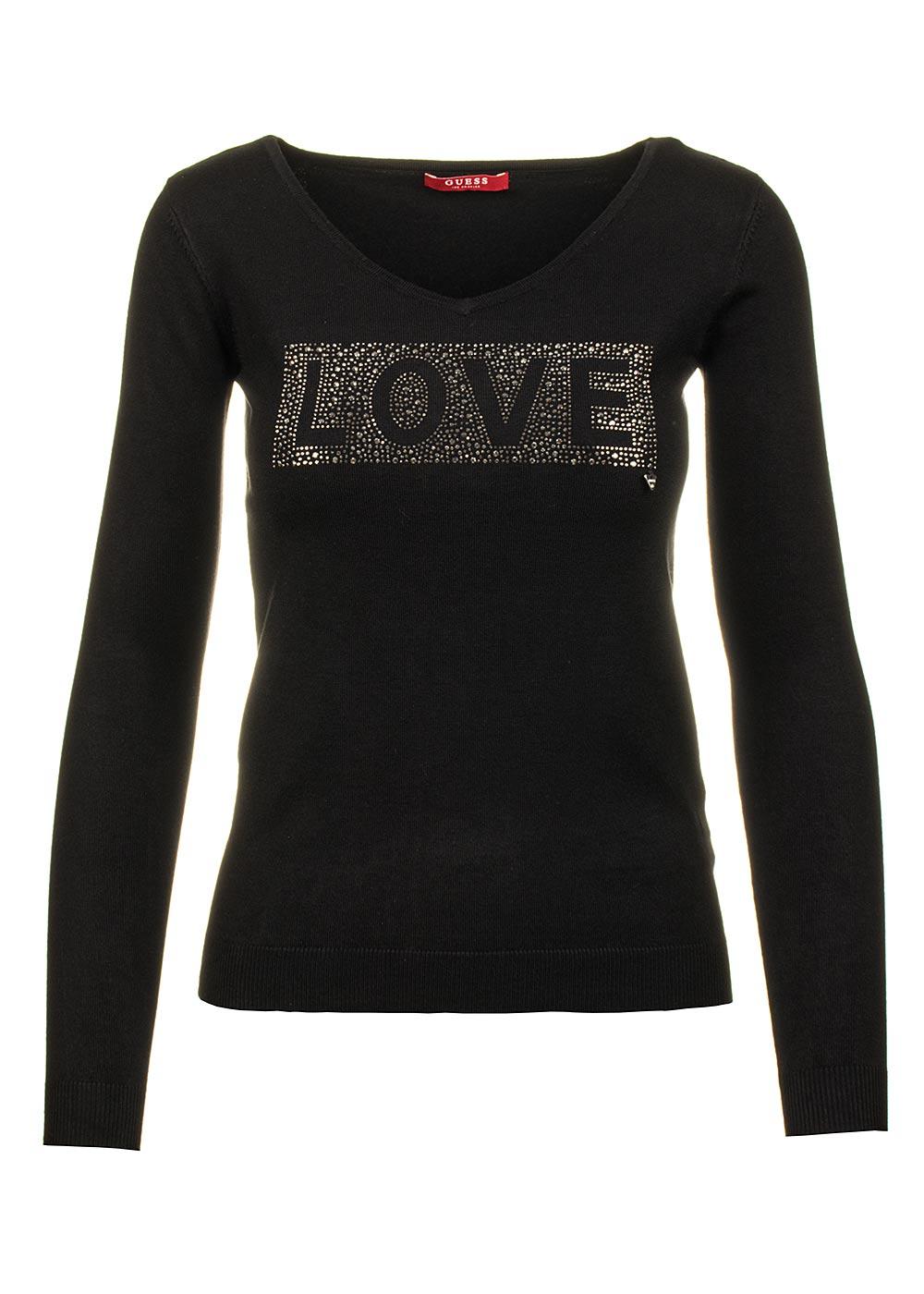 Guess dámský svetr černý s nápisem Velikost: M
