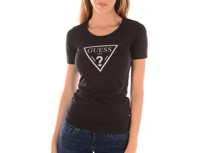 Guess tričko s logem se třpytkami