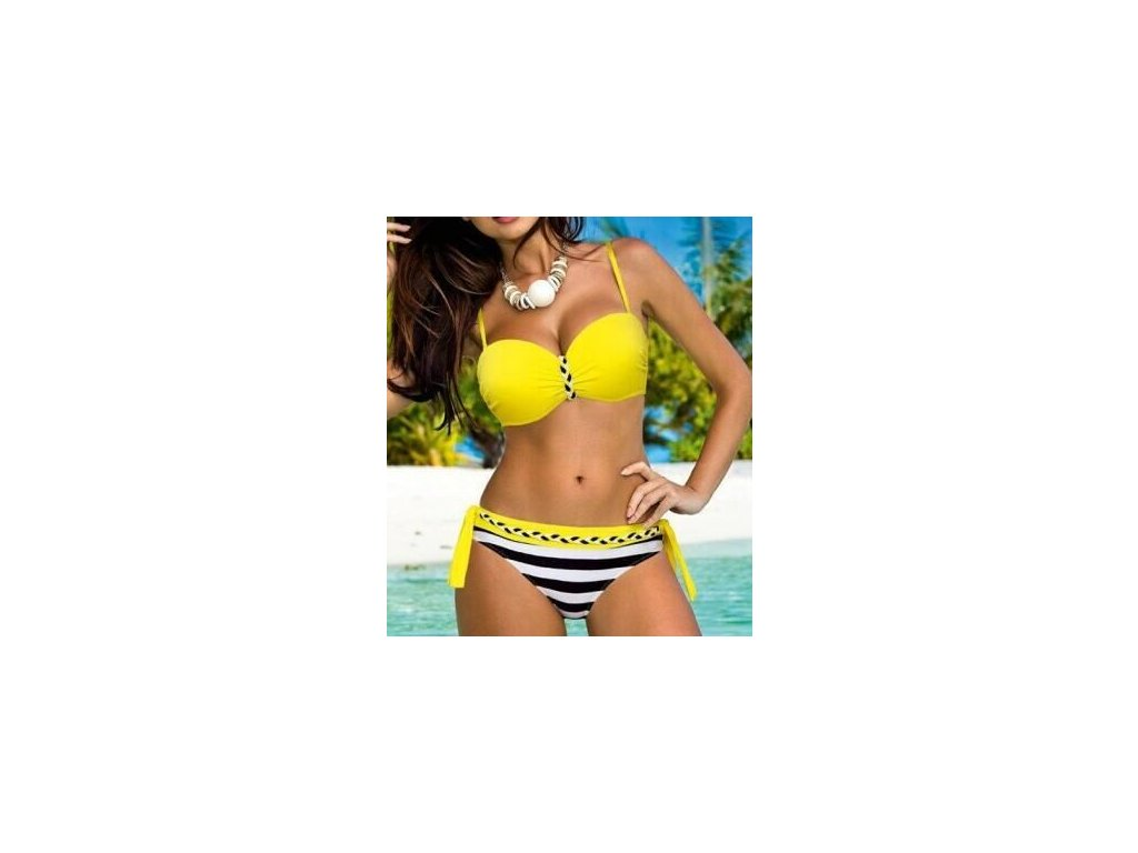 YCDKK New Sexy Brazilian Push Up Biquini Swimwear Female Stripe Tanga Bikinis Halter Swimsuit Beach Bathing