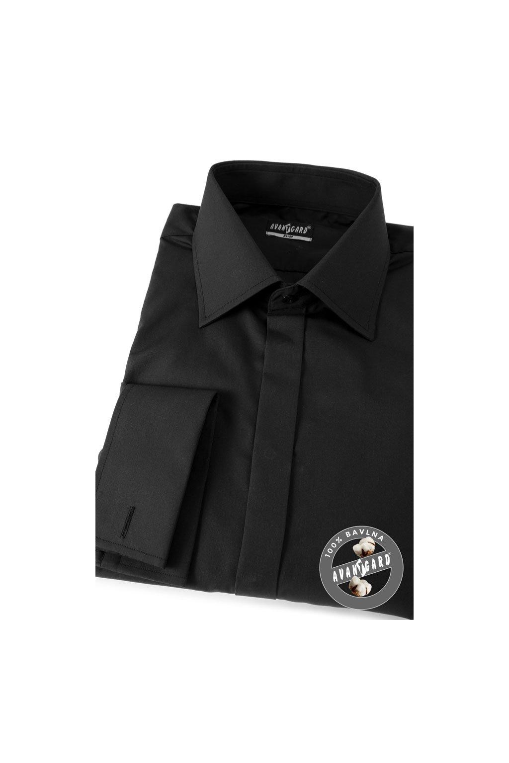 Pánská košile SLIM - krytá léga, MK černá 111 - 23