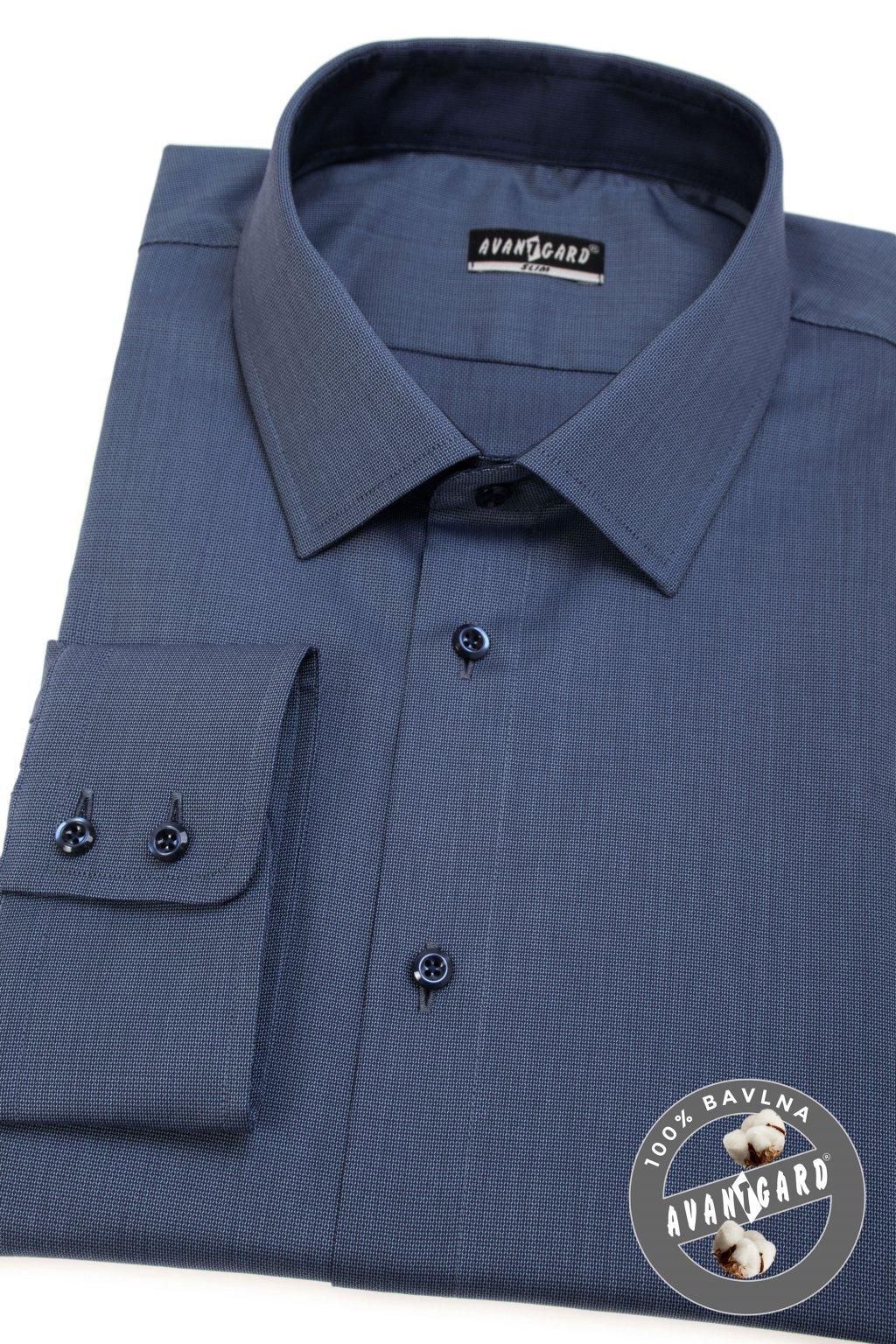 Pánská košile SLIM dl.rukáv modrá 109 - 0631